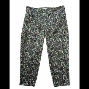 J Jill Floral Chino Crop Pants size 20 Green Multi color